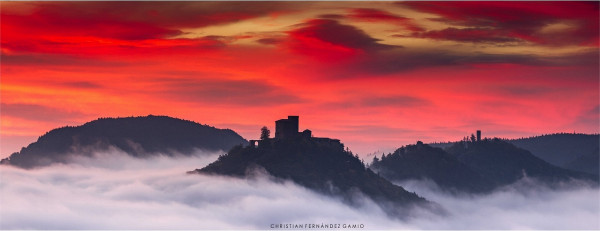 Wandbild »Burg Trifels in der Morgendämmerung«