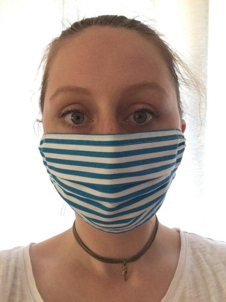 Mund-Nasen-Maske »Blau-Weiß gestreift«